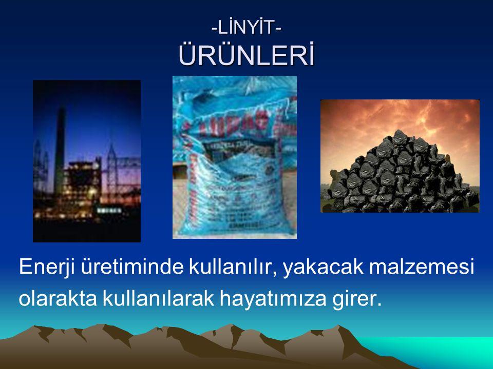 -LİNYİT- ÜRÜNLERİ Enerji üretiminde kullanılır, yakacak malzemesi olarakta kullanılarak hayatımıza girer.