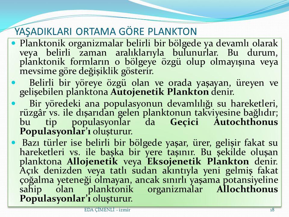 YAŞADIKLARI ORTAMA GÖRE PLANKTON Planktonik organizmalar belirli bir bölgede ya devamlı olarak veya belirli zaman aralıklarıyla bulunurlar. Bu durum,
