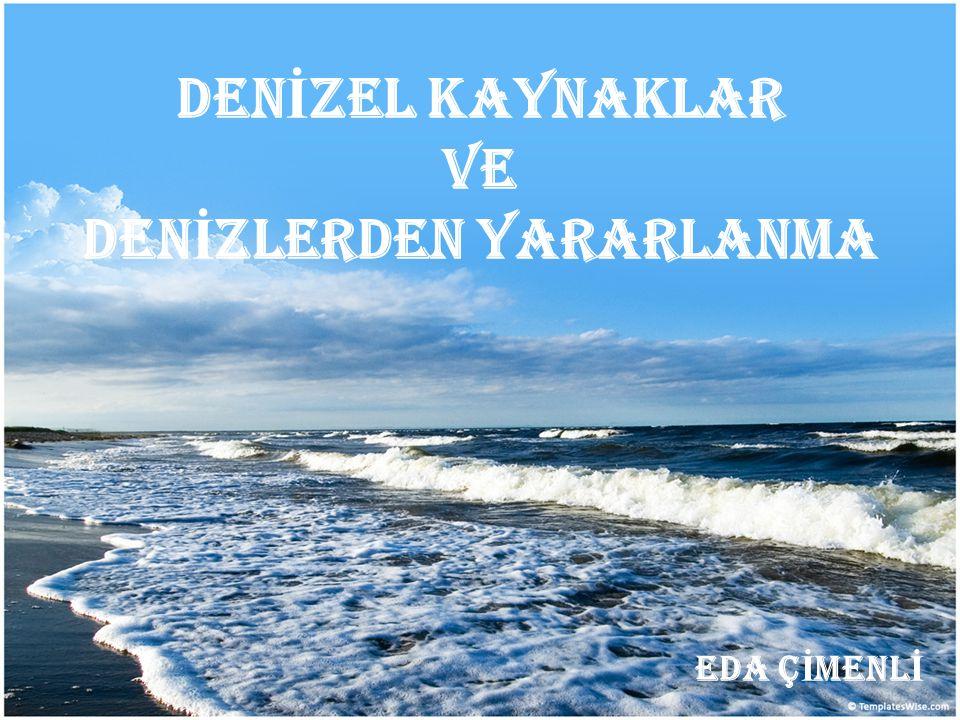 Türkiye'de Denizlerden Yararlanma Ulaşım Su ürünleri (Balıklar, Kabuklular, Yumuşakçalar, Sünger, Yosunlar) Deniz turizmi Tuz üretimi Kum üretimi Dalga enerjisi (Türkiye'de yararlanılmamaktadır) İçme suyu (Rafine edilerek)