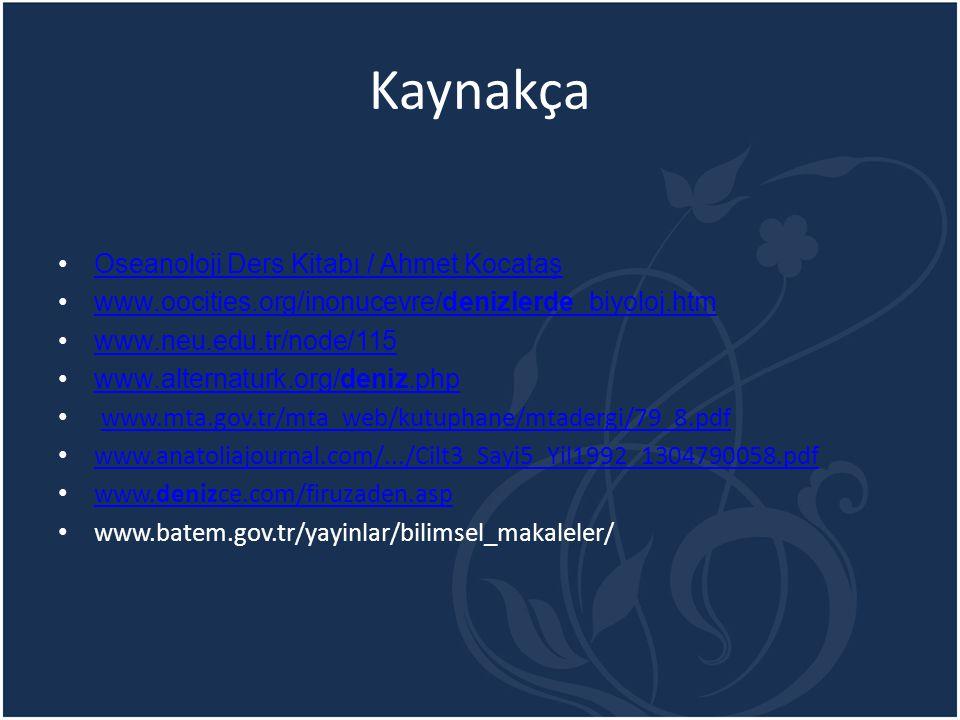 Kaynakça Oseanoloji Ders Kitabı / Ahmet Kocataş www.oocities.org/inonucevre/denizlerde_biyoloj.htmwww.oocities.org/inonucevre/denizlerde_biyoloj.htm w
