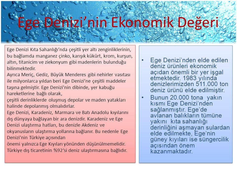 Ege Denizi'nin Ekonomik Değeri Ege Denizi'nden elde edilen deniz ürünleri ekonomik açıdan önemli bir yer işgal etmektedir.