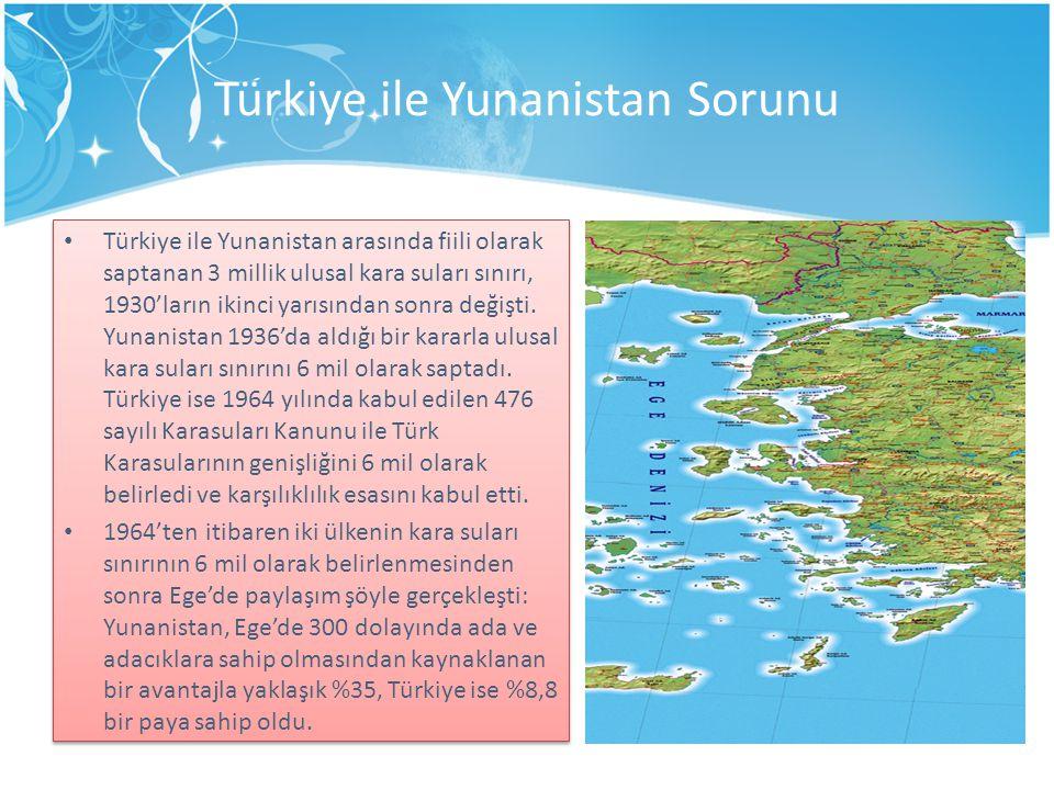 Türkiye ile Yunanistan Sorunu Türkiye ile Yunanistan arasında fiili olarak saptanan 3 millik ulusal kara suları sınırı, 1930'ların ikinci yarısından sonra değişti.