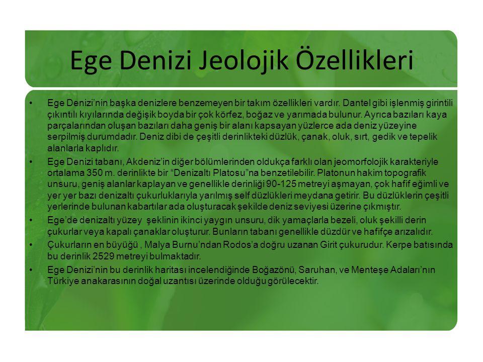 Ege Denizi Jeolojik Özellikleri Ege Denizi'nin başka denizlere benzemeyen bir takım özellikleri vardır.