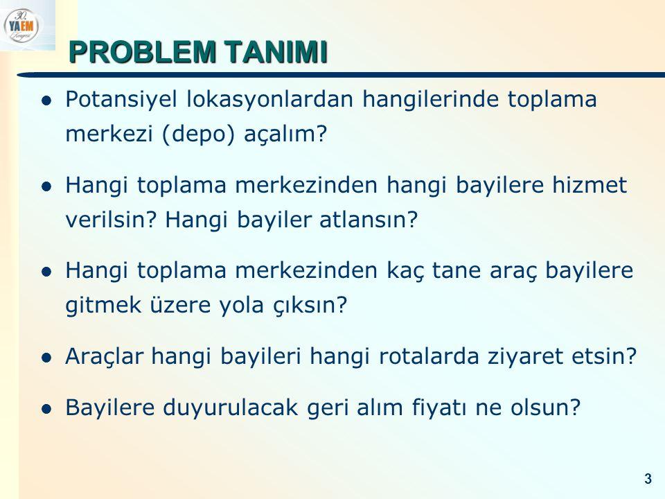 PROBLEM TANIMI Tesis Yerleşimi – Atama Problemi (FLAP) (Stratejik & Taktik Seviye) Seçici Çok Depolu Araç Rotalama Problemi (SMDVRP) (Operasyonel Seviye) Fiyatlandırma (Ziyaret edilen bayiler arasında en yüksek taban geri alım bedelini duyuran bayi tarafından belirlenir.) 4