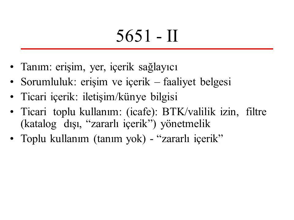 5651 - II Tanım: erişim, yer, içerik sağlayıcı Sorumluluk: erişim ve içerik – faaliyet belgesi Ticari içerik: iletişim/künye bilgisi Ticari toplu kull