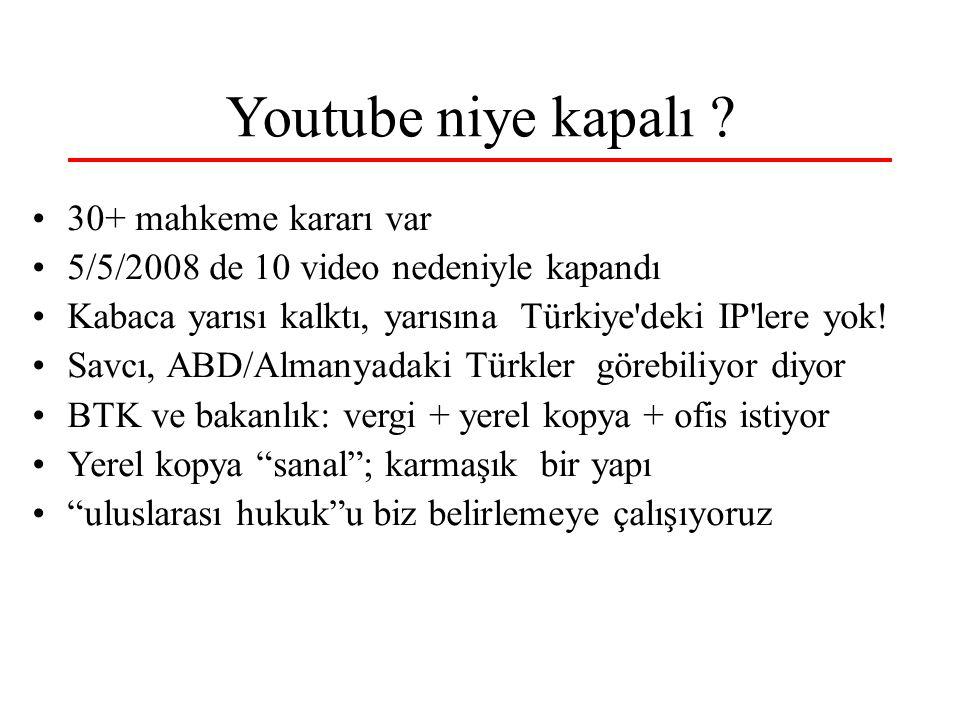 Youtube niye kapalı ? 30+ mahkeme kararı var 5/5/2008 de 10 video nedeniyle kapandı Kabaca yarısı kalktı, yarısına Türkiye'deki IP'lere yok! Savcı, AB