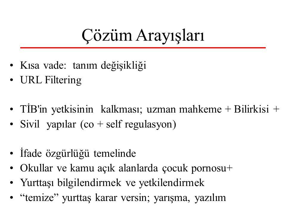 Çözüm Arayışları Kısa vade: tanım değişikliği URL Filtering TİB'in yetkisinin kalkması; uzman mahkeme + Bilirkisi + Sivil yapılar (co + self regulasyo