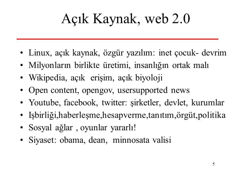 5 Açık Kaynak, web 2.0 Linux, açık kaynak, özgür yazılım: inet çocuk- devrim Milyonların birlikte üretimi, insanlığın ortak malı Wikipedia, açık erişi