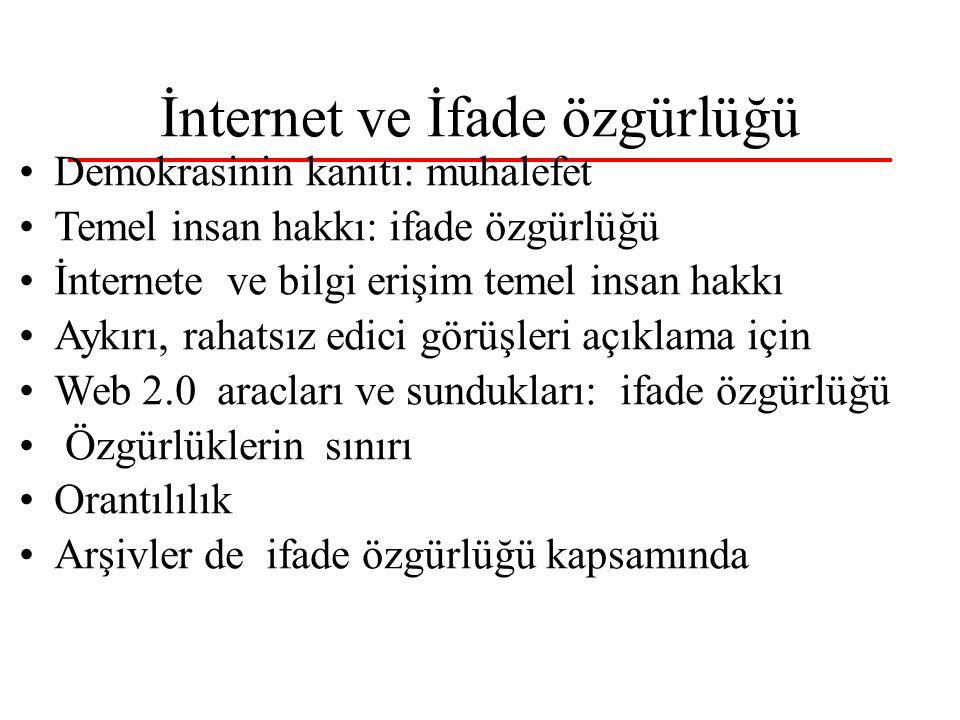 İnternet ve İfade özgürlüğü Demokrasinin kanıtı: muhalefet Temel insan hakkı: ifade özgürlüğü İnternete ve bilgi erişim temel insan hakkı Aykırı, raha
