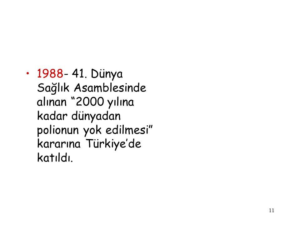 """11 1988- 41. Dünya Sağlık Asamblesinde alınan """"2000 yılına kadar dünyadan polionun yok edilmesi"""" kararına Türkiye'de katıldı."""