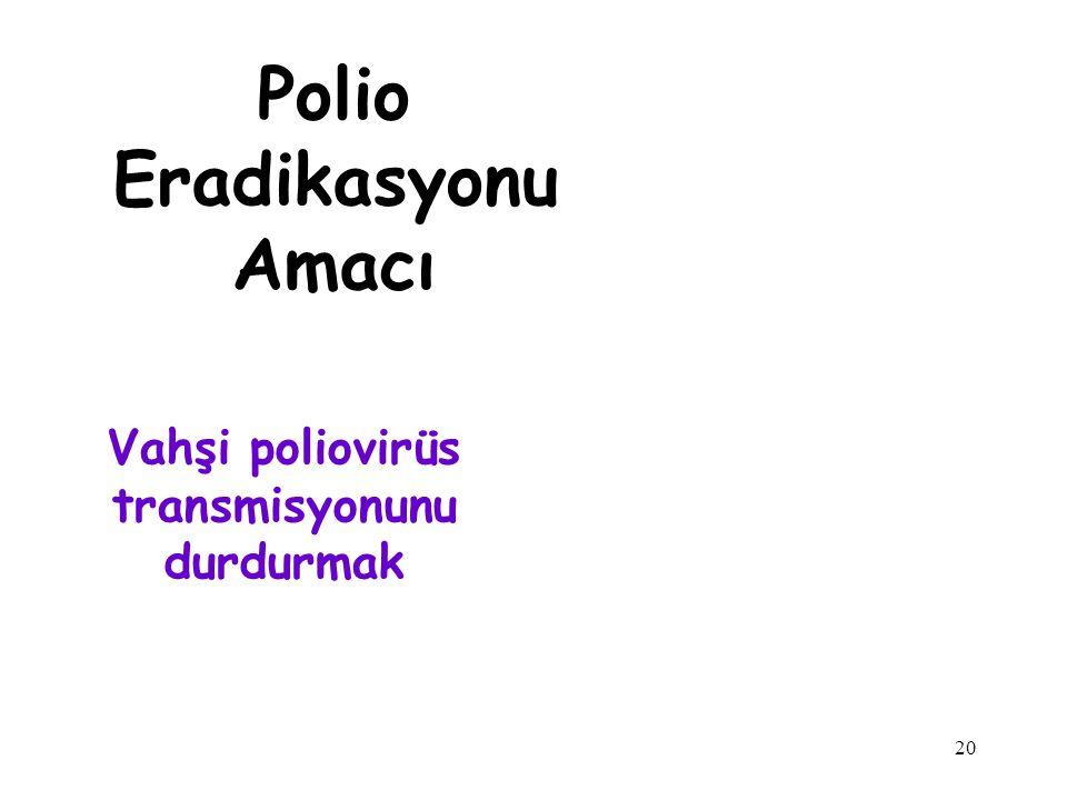 20 Vahşi poliovirüs transmisyonunu durdurmak Polio Eradikasyonu Amacı