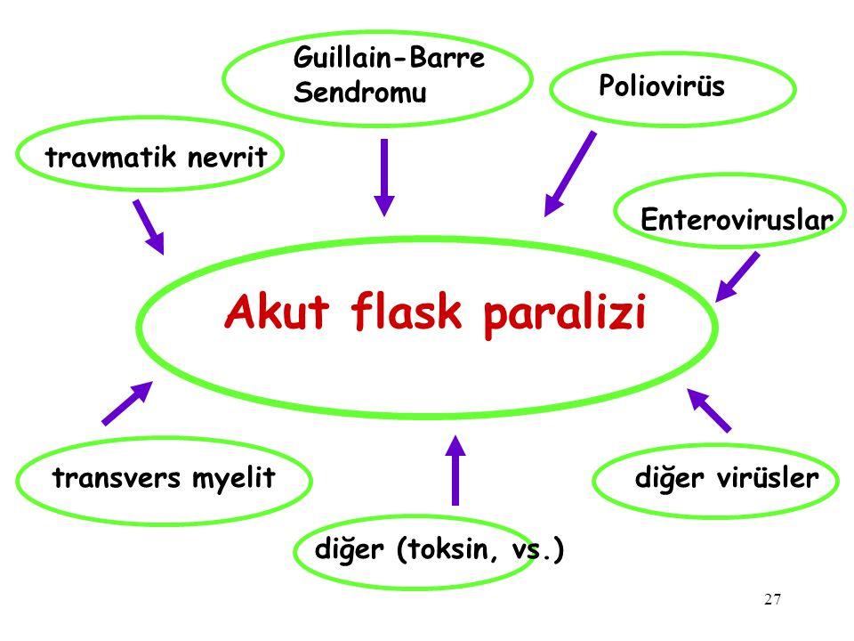 27 Akut flask paralizi Guillain-Barre Sendromu travmatik nevrit transvers myelit Poliovirüs diğer virüsler diğer (toksin, vs.) Enteroviruslar