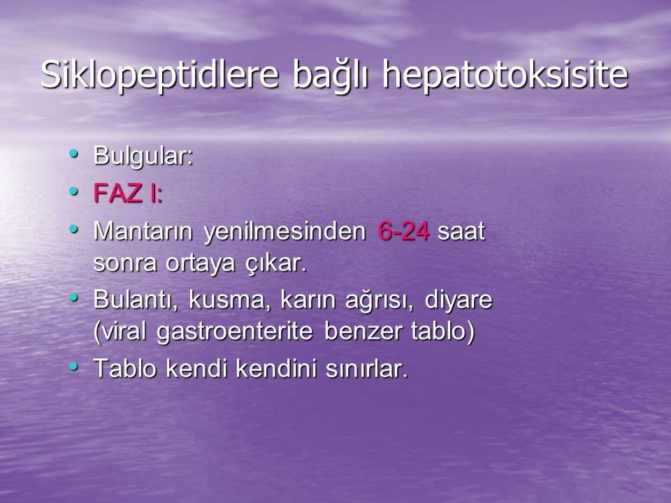 Siklopeptidlere bağlı hepatotoksisite Bulgular: Bulgular: FAZ I: FAZ I: Mantarın yenilmesinden 6-24 saat sonra ortaya çıkar.