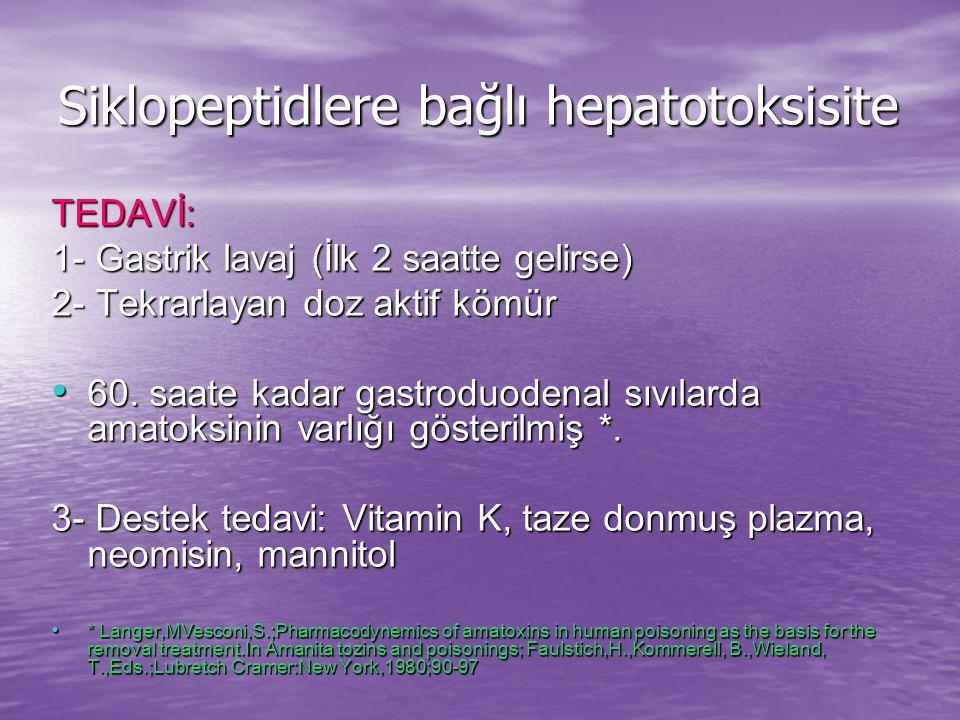 Siklopeptidlere bağlı hepatotoksisite TEDAVİ: 1- Gastrik lavaj (İlk 2 saatte gelirse) 2- Tekrarlayan doz aktif kömür 60.