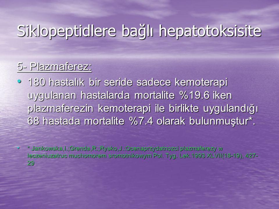 Siklopeptidlere bağlı hepatotoksisite 5- Plazmaferez: 180 hastalık bir seride sadece kemoterapi uygulanan hastalarda mortalite %19.6 iken plazmaferezin kemoterapi ile birlikte uygulandığı 68 hastada mortalite %7.4 olarak bulunmuştur*.