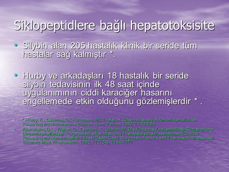Siklopeptidlere bağlı hepatotoksisite Silybin dihemisüksinat 5mg/kg IV (1 saatte) yükleme dozundan sonra 20mg/kg/gün devamlı infüzyon olarak 6 gün süresince transaminaz düzeyleri normale dönene kadar uygulanır *.