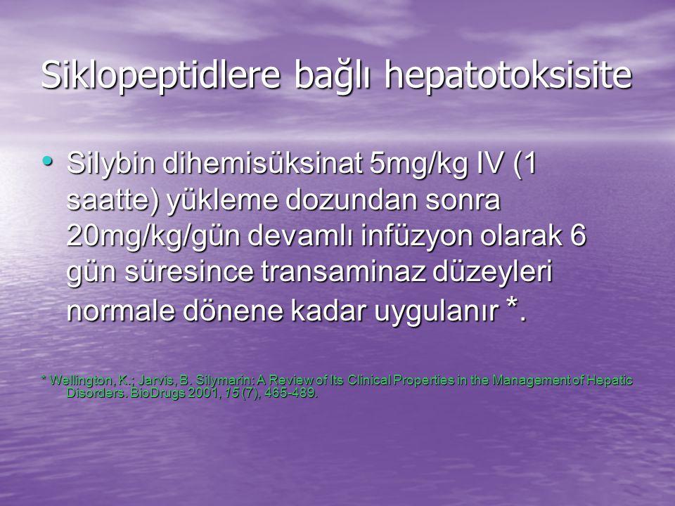 Siklopeptidlere bağlı hepatotoksisite Yan etkiler: Bulantı, kusma, artralji, başağrısı, kaşıntı, ürtiker izlenebilir.