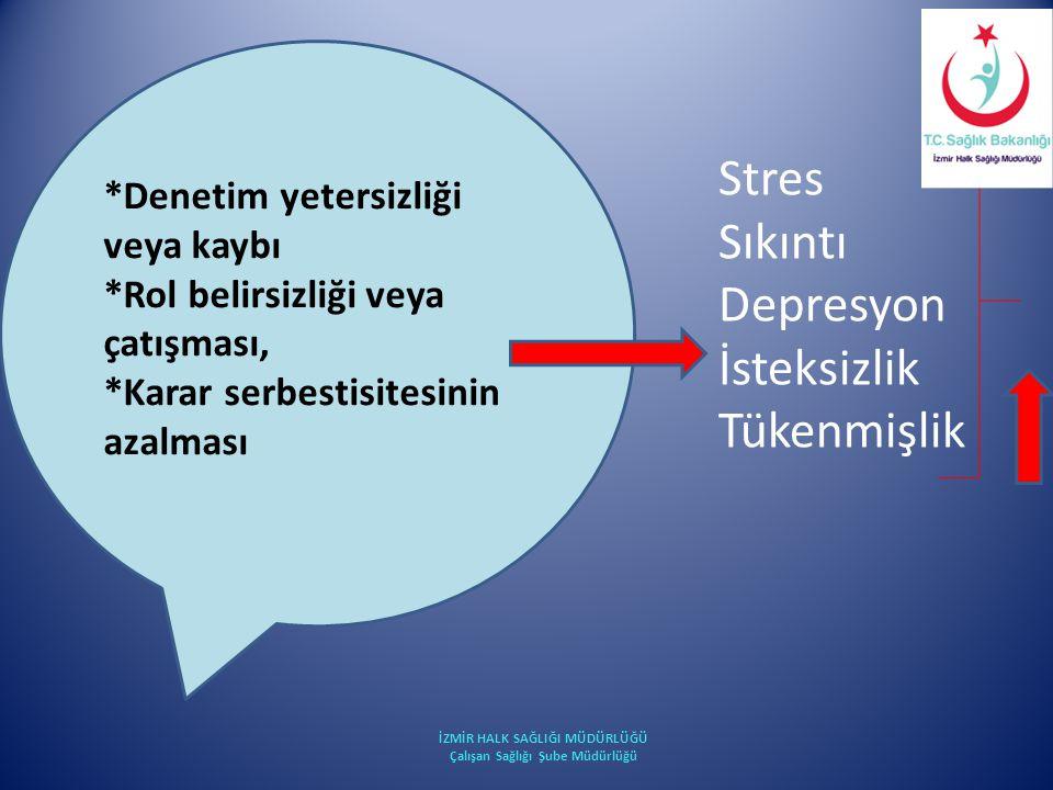 *Denetim yetersizliği veya kaybı *Rol belirsizliği veya çatışması, *Karar serbestisitesinin azalması Stres Sıkıntı Depresyon İsteksizlik Tükenmişlik İ