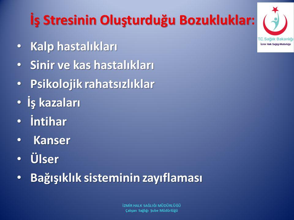 İş Stresinin Oluşturduğu Bozukluklar İş Stresinin Oluşturduğu Bozukluklar: Kalp hastalıkları Kalp hastalıkları Sinir ve kas hastalıkları Sinir ve kas