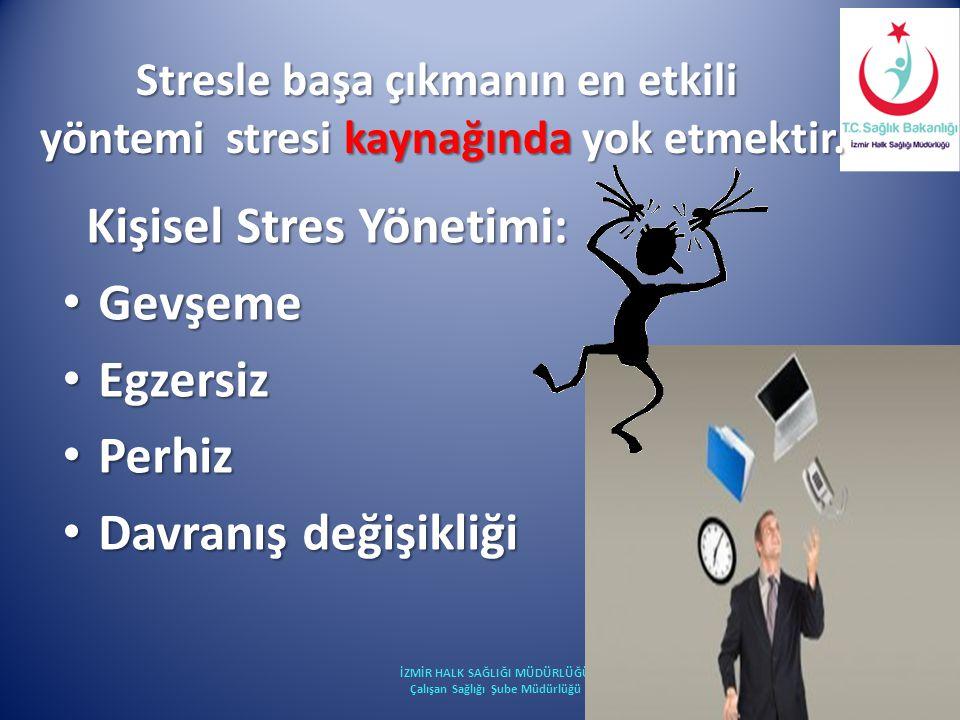 Kişisel Stres Yönetimi: Kişisel Stres Yönetimi: Gevşeme Gevşeme Egzersiz Egzersiz Perhiz Perhiz Davranış değişikliği Davranış değişikliği İZMİR HALK S