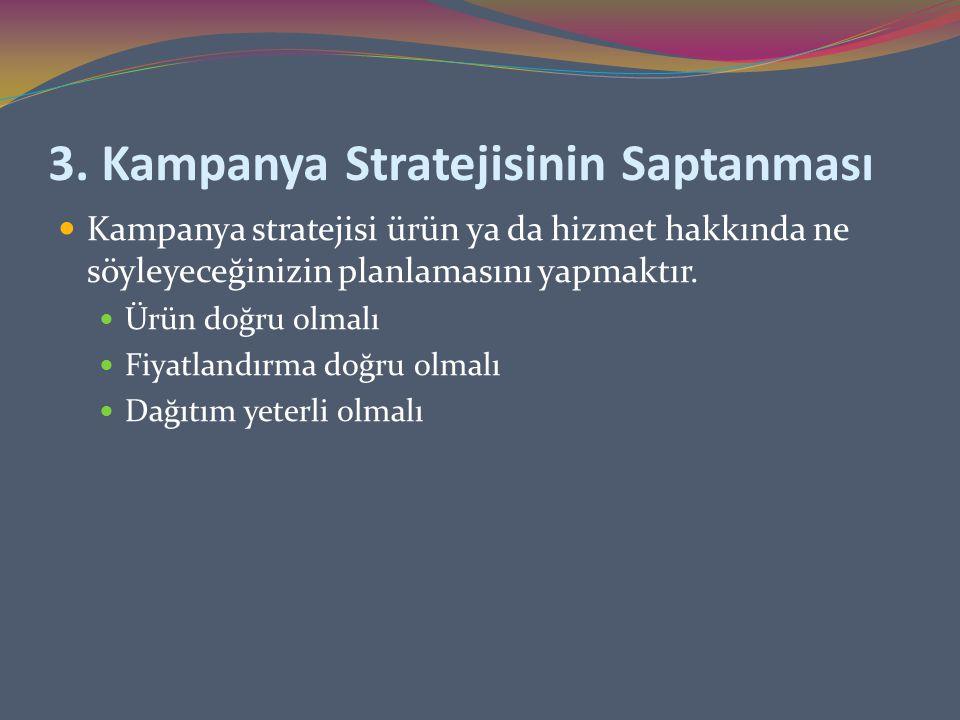 3. Kampanya Stratejisinin Saptanması Kampanya stratejisi ürün ya da hizmet hakkında ne söyleyeceğinizin planlamasını yapmaktır. Ürün doğru olmalı Fiya