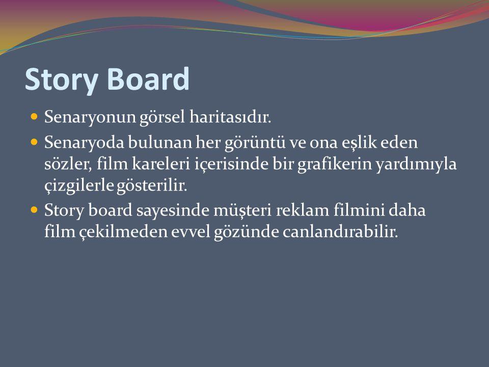 Story Board Senaryonun görsel haritasıdır. Senaryoda bulunan her görüntü ve ona eşlik eden sözler, film kareleri içerisinde bir grafikerin yardımıyla