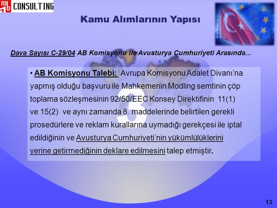 Kamu Alımlarının Yapısı Dava Sayısı C-29/04 AB Komisyonu ile Avusturya Cumhuriyeti Arasında... AB Komisyonu Talebi: Avrupa Komisyonu Adalet Divanı'na