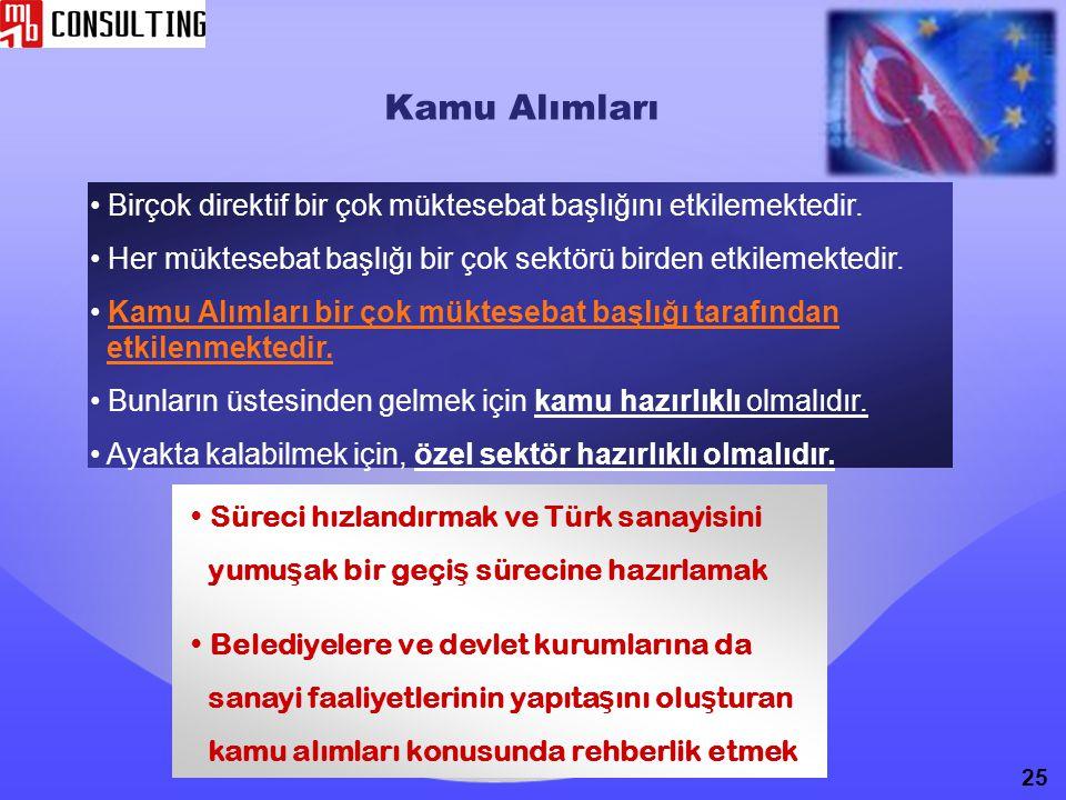 Kamu Alımları Süreci hızlandırmak ve Türk sanayisini yumu ş ak bir geçi ş sürecine hazırlamak Belediyelere ve devlet kurumlarına da sanayi faaliyetler