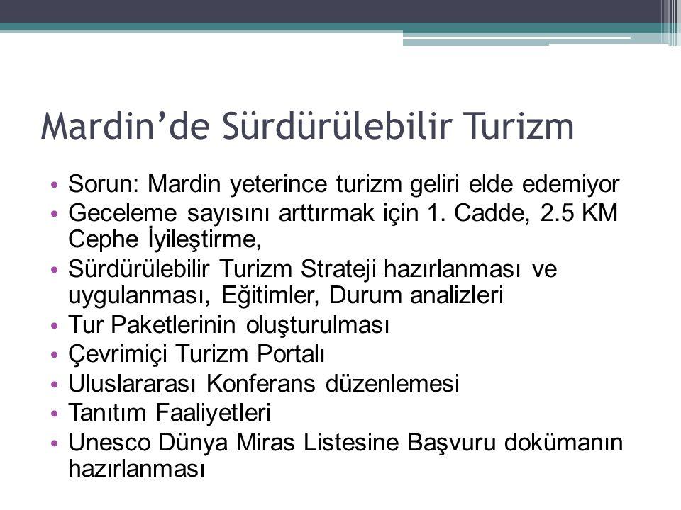 Mardin'de Sürdürülebilir Turizm Sorun: Mardin yeterince turizm geliri elde edemiyor Geceleme sayısını arttırmak için 1. Cadde, 2.5 KM Cephe İyileştirm