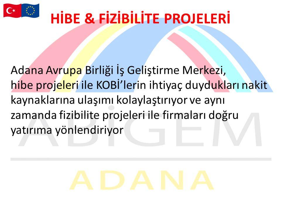 HİBE & FİZİBİLİTE PROJELERİ Adana Avrupa Birliği İş Geliştirme Merkezi, hibe projeleri ile KOBİ'lerin ihtiyaç duydukları nakit kaynaklarına ulaşımı kolaylaştırıyor ve aynı zamanda fizibilite projeleri ile firmaları doğru yatırıma yönlendiriyor