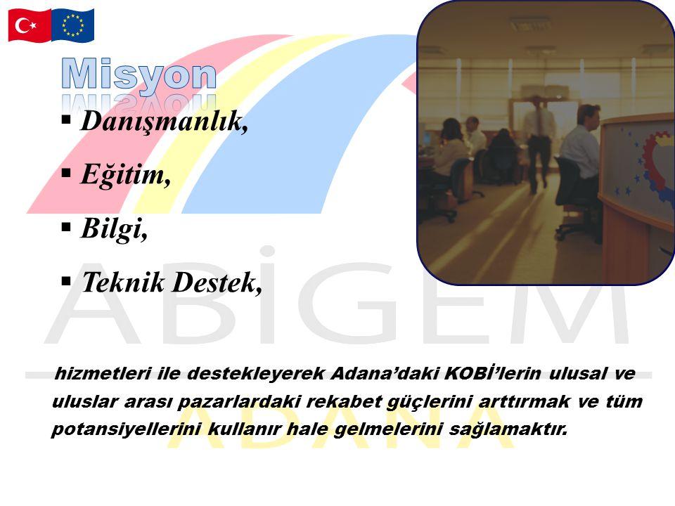  Danışmanlık,  Eğitim,  Bilgi,  Teknik Destek, hizmetleri ile destekleyerek Adana'daki KOBİ'lerin ulusal ve uluslar arası pazarlardaki rekabet güçlerini arttırmak ve tüm potansiyellerini kullanır hale gelmelerini sağlamaktır.