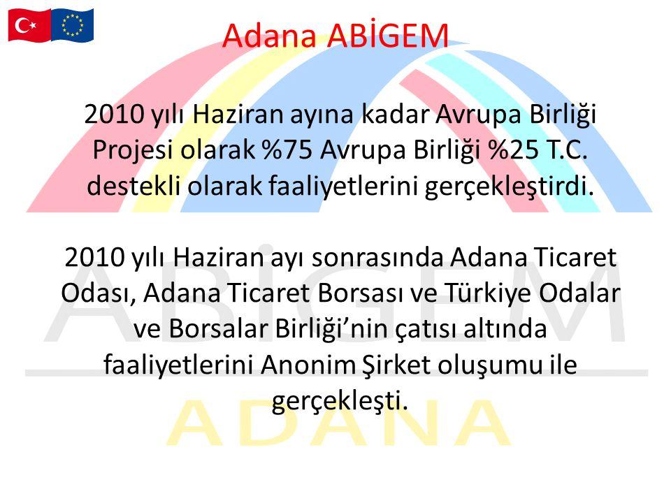 Adana ABİGEM 2010 yılı Haziran ayına kadar Avrupa Birliği Projesi olarak %75 Avrupa Birliği %25 T.C.