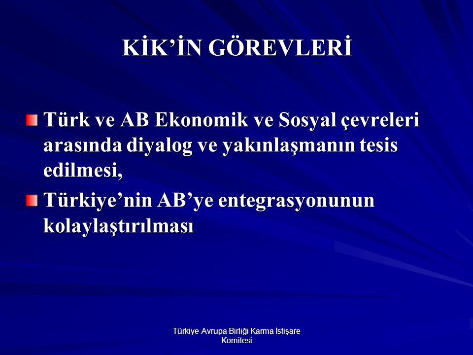 Türkiye-Avrupa Birliği Karma İstişare Komitesi KİK'İN GÖREVLERİ Türk ve AB Ekonomik ve Sosyal çevreleri arasında diyalog ve yakınlaşmanın tesis edilmesi, Türkiye'nin AB'ye entegrasyonunun kolaylaştırılması