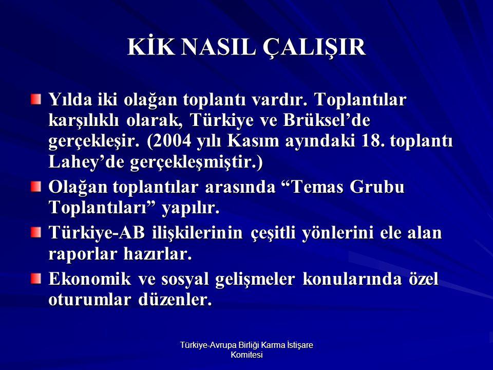 Türkiye-Avrupa Birliği Karma İstişare Komitesi KİK NASIL ÇALIŞIR Yılda iki olağan toplantı vardır.