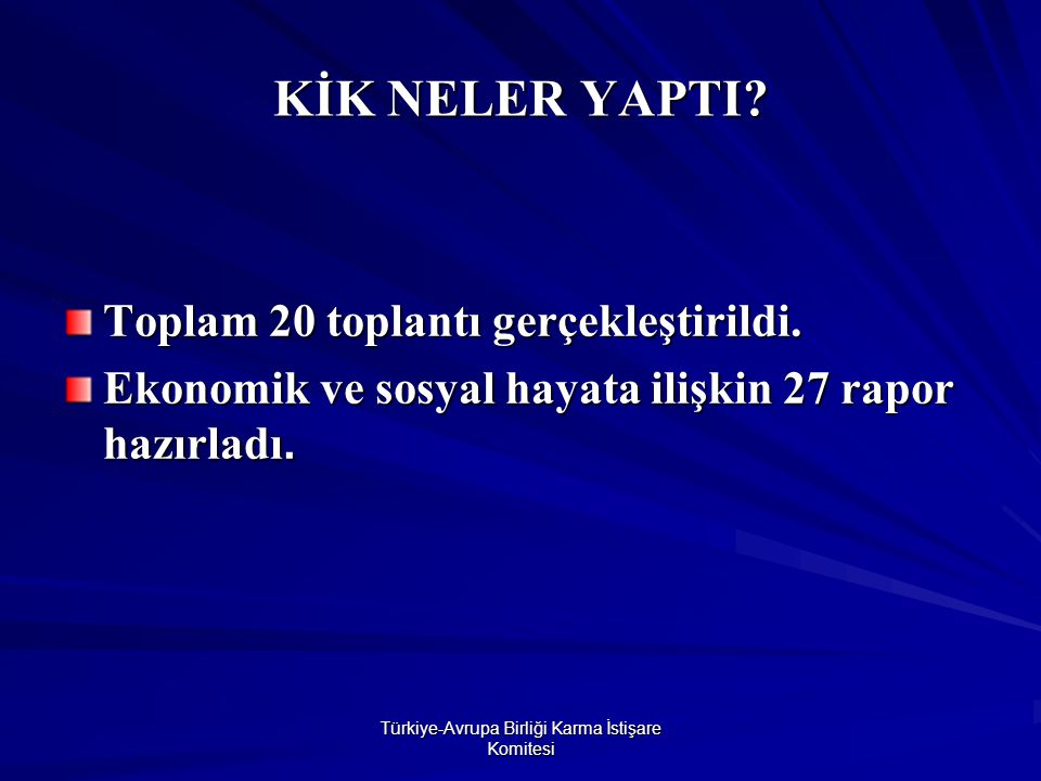 Türkiye-Avrupa Birliği Karma İstişare Komitesi KİK NELER YAPTI.