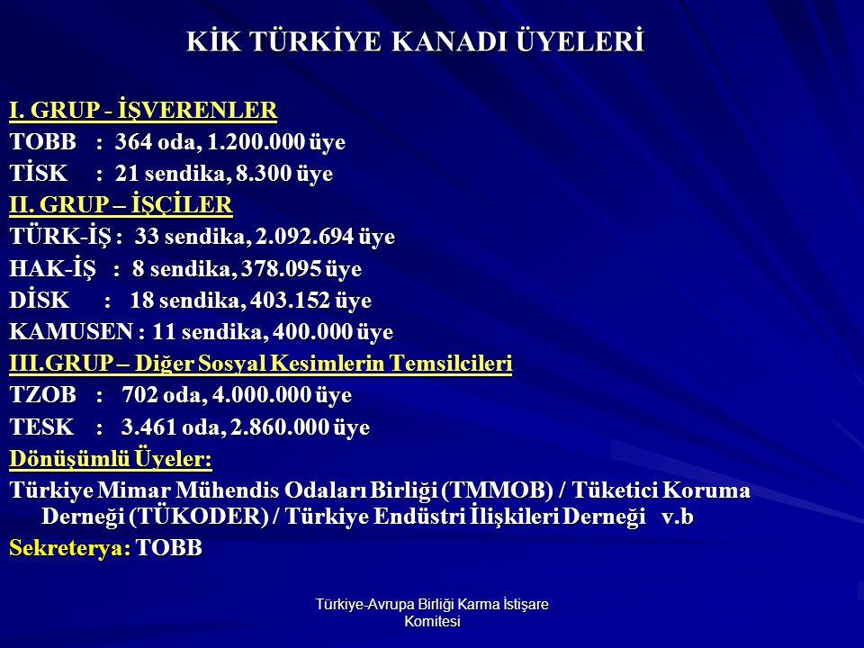 Türkiye-Avrupa Birliği Karma İstişare Komitesi KİK TÜRKİYE KANADI ÜYELERİ I.