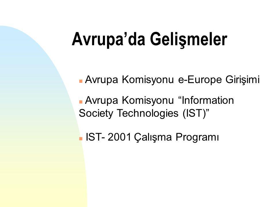 Avrupa'da Gelişmeler n Avrupa Komisyonu e-Europe Girişimi n Avrupa Komisyonu Information Society Technologies (IST) IST- 2001 Çalışma Programı