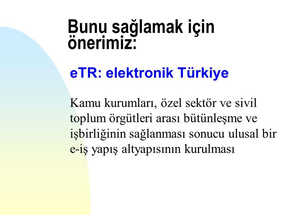 Bunu sağlamak için önerimiz: eTR: elektronik Türkiye Kamu kurumları, özel sektör ve sivil toplum örgütleri arası bütünleşme ve işbirliğinin sağlanması