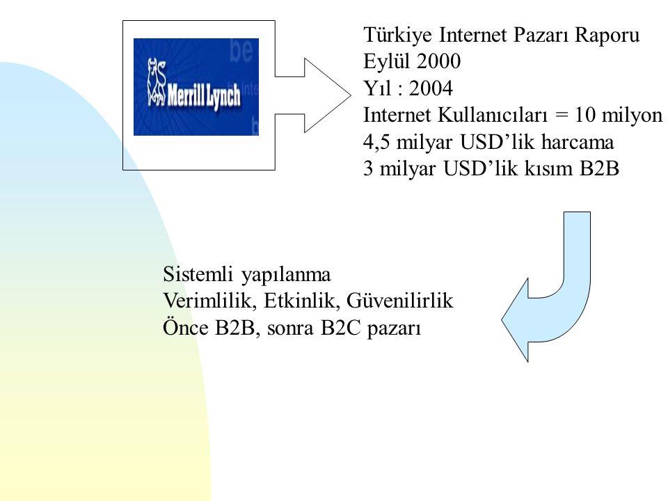 Türkiye Internet Pazarı Raporu Eylül 2000 Yıl : 2004 Internet Kullanıcıları = 10 milyon 4,5 milyar USD'lik harcama 3 milyar USD'lik kısım B2B Sistemli yapılanma Verimlilik, Etkinlik, Güvenilirlik Önce B2B, sonra B2C pazarı