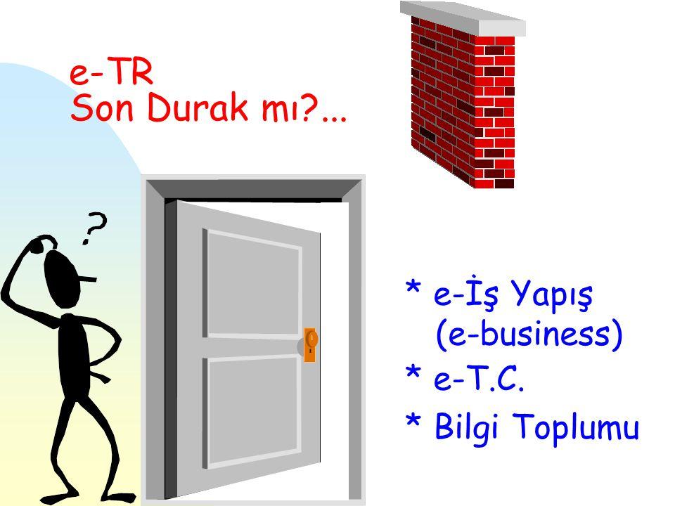 e-TR Son Durak mı ... * e-İş Yapış (e-business) * e-T.C. * Bilgi Toplumu