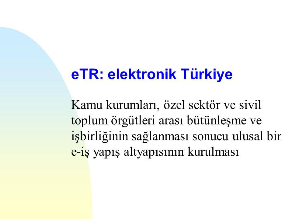eTR: elektronik Türkiye Kamu kurumları, özel sektör ve sivil toplum örgütleri arası bütünleşme ve işbirliğinin sağlanması sonucu ulusal bir e-iş yapış