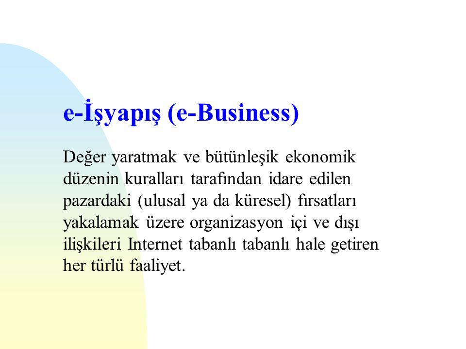 e-İşyapış (e-Business) Değer yaratmak ve bütünleşik ekonomik düzenin kuralları tarafından idare edilen pazardaki (ulusal ya da küresel) fırsatları yakalamak üzere organizasyon içi ve dışı ilişkileri Internet tabanlı tabanlı hale getiren her türlü faaliyet.