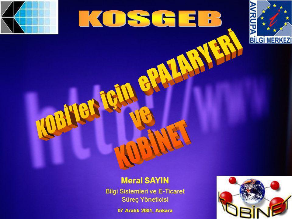 Meral SAYIN Bilgi Sistemleri ve E-Ticaret Süreç Yöneticisi 07 Aralık 2001, Ankara