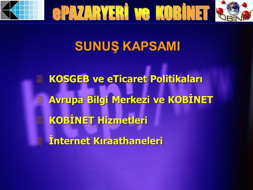 3 KOSGEB ve eTicaret Politikaları 3 Avrupa Bilgi Merkezi ve KOBİNET 3 KOBİNET Hizmetleri 3 İnternet Kıraathaneleri SUNUŞ KAPSAMI