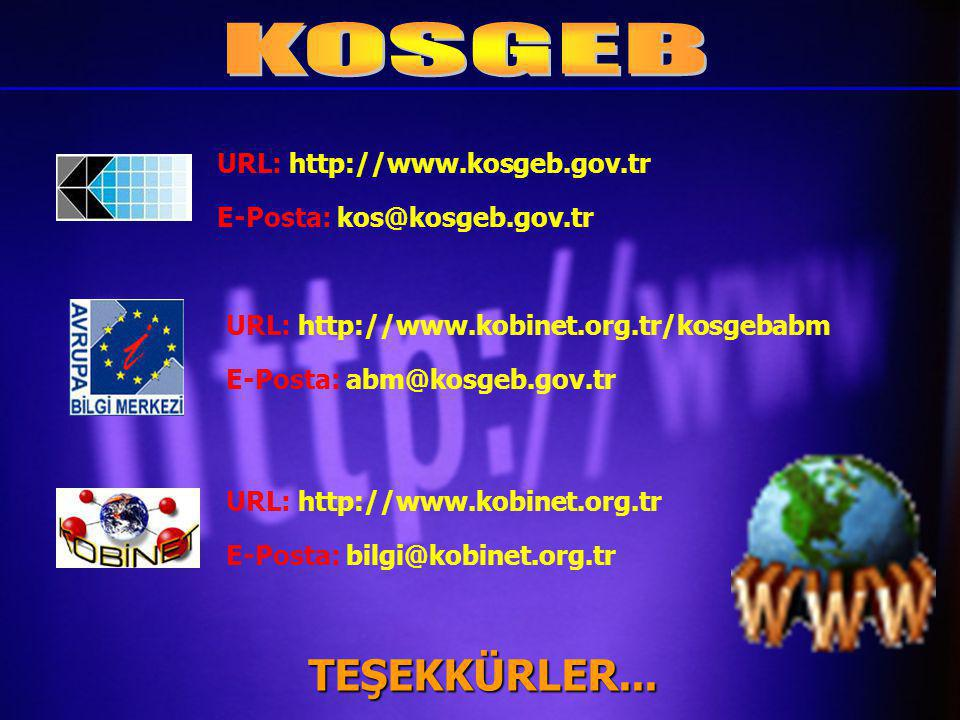 URL: http://www.kobinet.org.tr/kosgebabm E-Posta: abm@kosgeb.gov.tr URL: http://www.kobinet.org.tr E-Posta: bilgi@kobinet.org.tr URL: http://www.kosgeb.gov.tr E-Posta: kos@kosgeb.gov.tr TEŞEKKÜRLER...