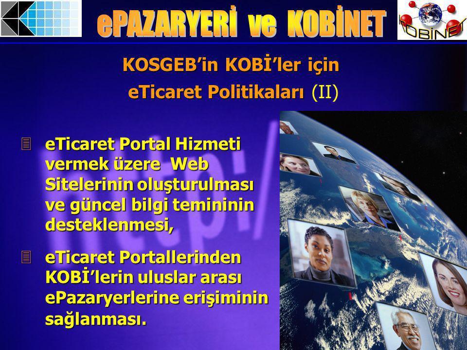 3eTicaret Portal Hizmeti vermek üzere Web Sitelerinin oluşturulması ve güncel bilgi temininin desteklenmesi, 3eTicaret Portallerinden KOBİ'lerin uluslar arası ePazaryerlerine erişiminin sağlanması.