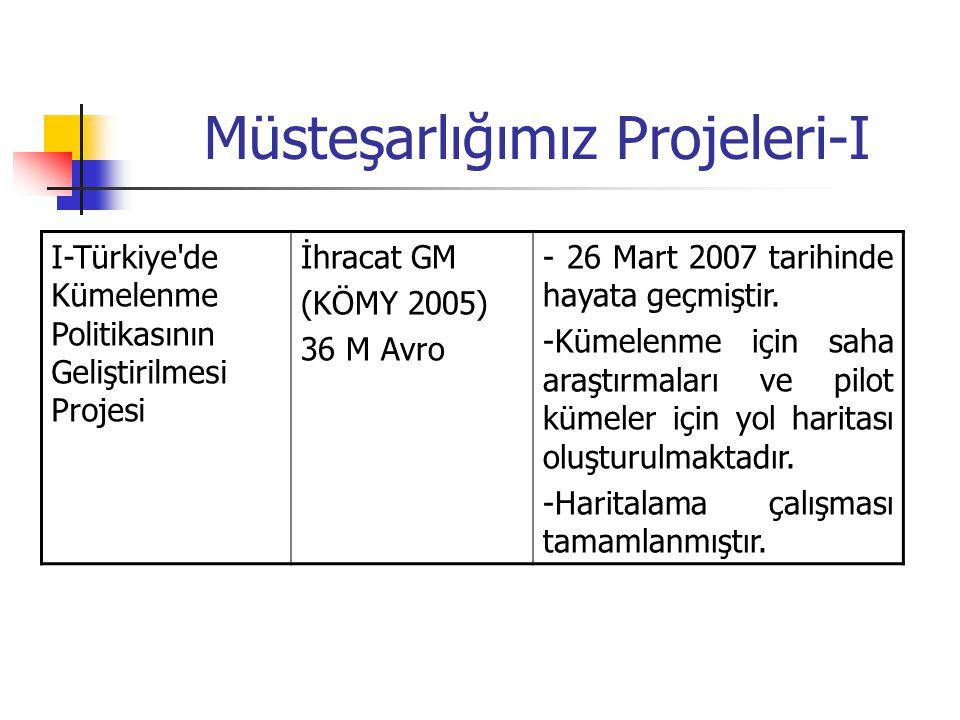 Müsteşarlığımız Projeleri-I I-Türkiye'de Kümelenme Politikasının Geliştirilmesi Projesi İhracat GM (KÖMY 2005) 36 M Avro - 26 Mart 2007 tarihinde haya