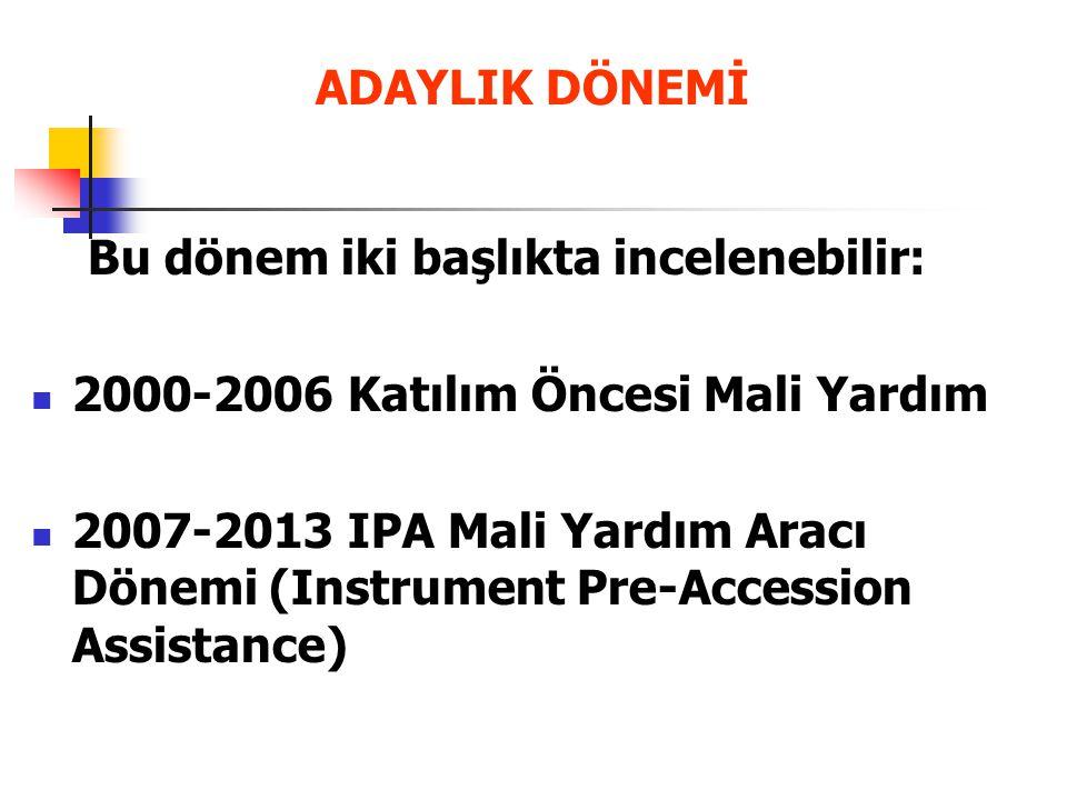 ADAYLIK DÖNEMİ Bu dönem iki başlıkta incelenebilir: 2000-2006 Katılım Öncesi Mali Yardım 2007-2013 IPA Mali Yardım Aracı Dönemi (Instrument Pre-Access