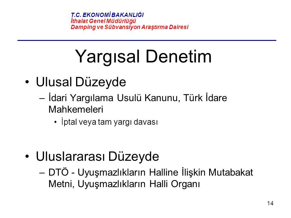 14 Yargısal Denetim Ulusal Düzeyde –İdari Yargılama Usulü Kanunu, Türk İdare Mahkemeleri İptal veya tam yargı davası Uluslararası Düzeyde –DTÖ - Uyuşm