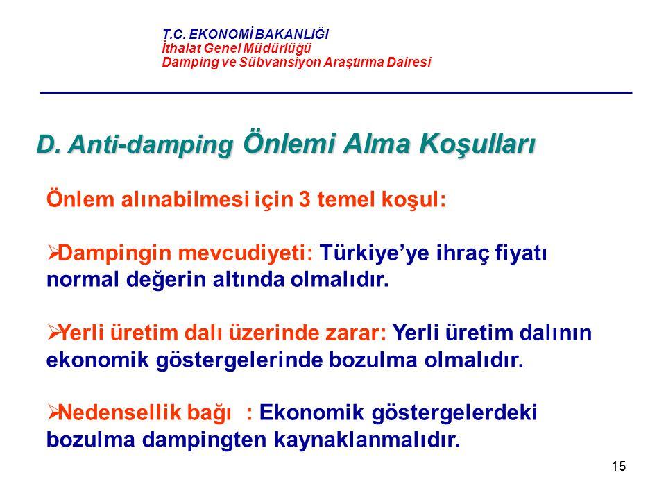 15 D. Anti-damping Önlemi Alma Koşulları Önlem alınabilmesi için 3 temel koşul:  Dampingin mevcudiyeti: Türkiye'ye ihraç fiyatı normal değerin altınd